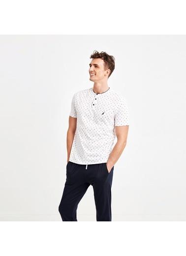 Nautica M128PJTK.BEY Nautıca Erkek Beyaz Desenli Pijama Takımı Beyaz